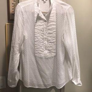 J Crew Swiss Dot White Tuxedo style blouse 12